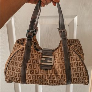 Auth FENDI ZUCCA PATTERN BROWN CANVAS LEATHER BAG